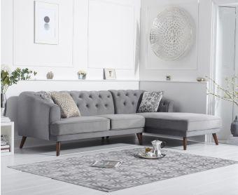 Delilah Grey Velvet Right Hand Facing Corner Sofa