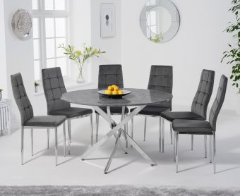 Casie 120cm Round Grey Marble Table with Melissa Chairs