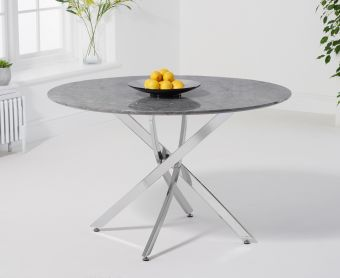 Casie 120cm Round Grey Marble Dining Table