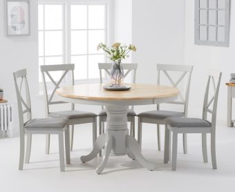 Epsom Oak and Grey 120cm Round Pedestal Dining Table with Fabric Chairs