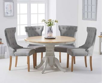 Epsom 120cm Oak and Grey Dining Table with Cora Fabric Chairs