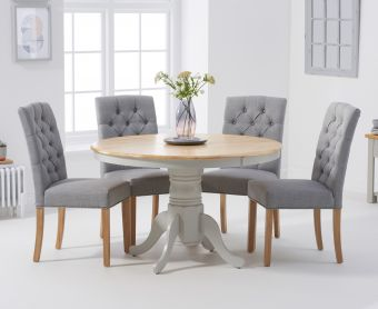 Epsom 120cm Oak and Grey Round Pedestal Table with Candice Chairs