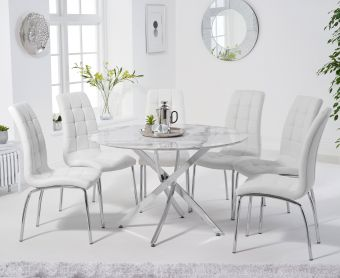 Casie 120cm Round White Marble Table with Calgary Chairs
