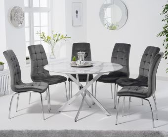 Casie 120cm Round White Marble Table with Calgary Velvet Chairs