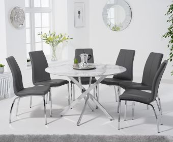 Casie 120cm Round White Marble Table with Cavello Chairs