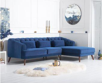 Delilah Blue Velvet Right Hand Facing Corner Sofa