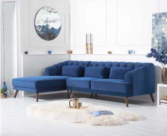 Delilah Blue Velvet Left Hand Facing Corner Sofa