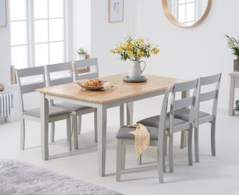 Chiltern 150cm Oak and Grey Table with Chiltern Chairs with Grey Fabric Seats