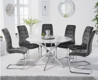 Casie 120cm Round White Marble Table with Lorin Chairs