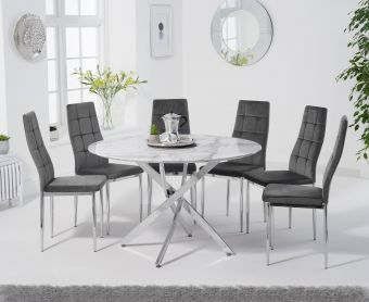 Casie 120cm Round White Marble Table with Melissa Chairs