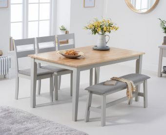 Chiltern 150cm Oak and Grey Table with Chiltern Chairs with Grey Fabric Seats and Bench