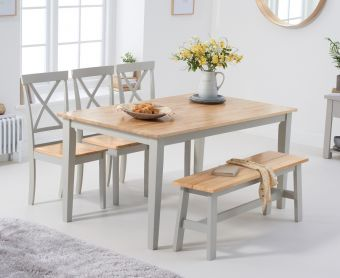 Chiltern 150cm Oak and Grey Dining Table Set with Benches and Epsom Chairs