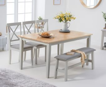Chiltern 150cm Oak and Grey Table with Epsom Chairs with Grey Fabric Seats and Bench