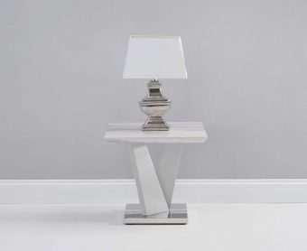 Rami Light Grey Marble Effect Side Table