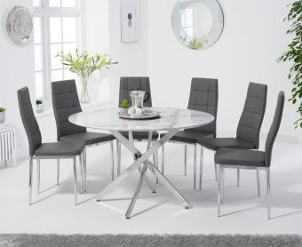 Casie 120cm Round White Marble Table with Cassa Chairs