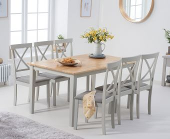 Chiltern 150cm Oak and Grey Dining Table with Epsom Chairs with Grey Fabric Seats