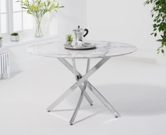 Casie 120cm Round White Marble Dining Table