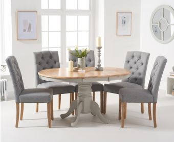 Epsom Oak and Grey Pedestal Extending Dining Table with Candice Grey Fabric Dining Chairs