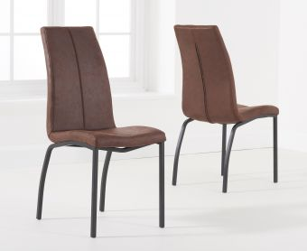 Noir Brown Fabric Dining Chairs (Pairs)