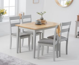 Chiltern 114cm Oak and Grey Table with Chiltern Chairs with Grey Fabric Seats