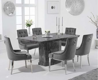 Carvelle 160cm Grey Pedestal Marble Dining Table with Talia Velvet Chairs