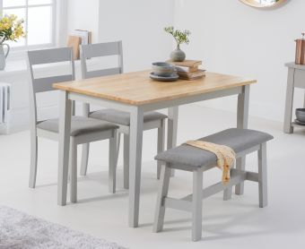 Chiltern 114cm Oak and Grey Table with Chiltern Chairs with Grey Fabric Seats and Bench