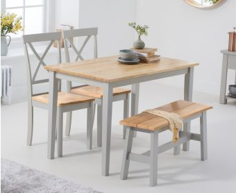 Chiltern 114cm Oak and Grey Dining Set with Epsom Chairs and Bench