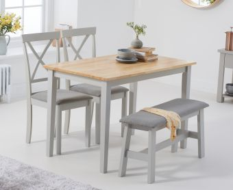 Chiltern 114cm Oak and Grey Table with Epsom Chairs with Grey Fabric Seats and Bench
