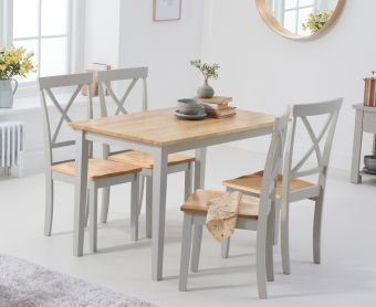 Chiltern 114cm Oak and Grey Dining Table Set with Epsom Chairs