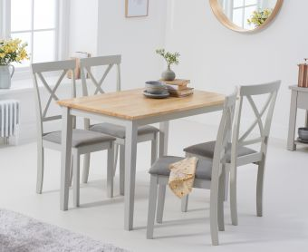 Chiltern 114cm Oak and Grey Dining Table with Epsom Chairs with Grey Fabric Seats