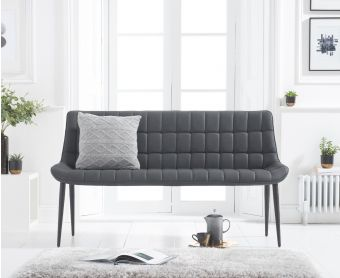 Herald Grey Faux Leather Bench