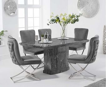 Carvelle 160cm Grey Pedestal Marble Dining Table with Giovanni Velvet Chairs