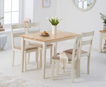 Chiltern 114cm Oak and Cream Dining Table with Chairs with Cream Fabric Seats
