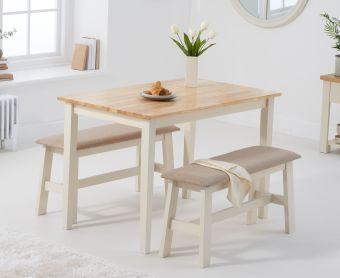 Chiltern 114cm Oak and Cream Table with Fabric Benches