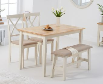 Chiltern 114cm Oak and Cream Table with Epsom Chairs with Cream Fabric Seats and Benches