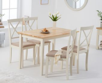 Chiltern 114cm Oak and Cream Table with Epsom Chairs with Cream Fabric Seats
