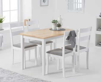 Chiltern 114cm Oak and White Table with Chiltern Chairs with Grey Fabric Seats