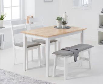 Chiltern 114cm Oak and White Table with Chiltern Chairs with Grey Fabric Seats and Bench
