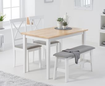 Chiltern 114cm Oak and White Table with Epsom Chairs with Grey Fabric Seats and Benches