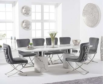 Alona 260cm White Marble Table with Giovanni Velvet Chairs