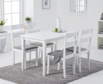 Chiltern 114cm White Table with Chiltern Chairs with Grey Fabric Seats