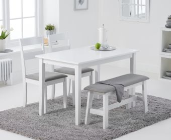 Chiltern 114cm White Table with Chairs with Grey Fabric Seats and Benches