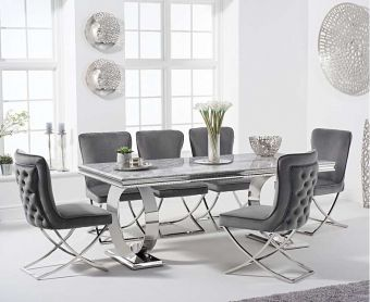 Hyde 200cm Marble Dining Table with Giovanni Velvet Chairs