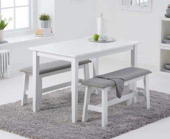 Chiltern 114cm White Table with Fabric Benches