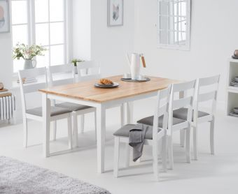 Chiltern 150cm Oak and White Table with Chiltern Chairs with Grey Fabric Seats