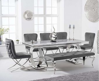 Hyde 180cm Marble Dining Table with Giovanni Velvet Chairs and Fairmont Bench