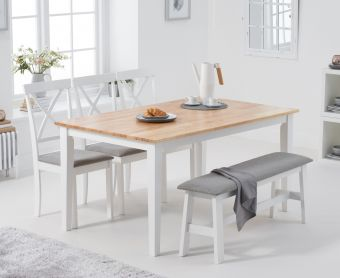 Chiltern 150cm Oak and White Table with Epsom Chairs with Grey Fabric Seats and Bench
