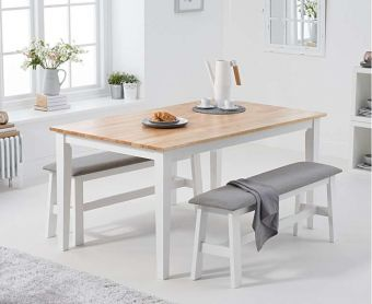 Chiltern 150cm Oak and White Dining Set with Fabric Benches
