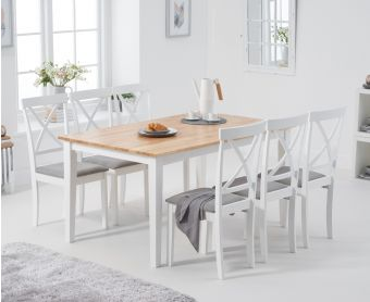 Chiltern 150cm Oak and White Dining Table with Epsom Chairs with Grey Fabric Seats