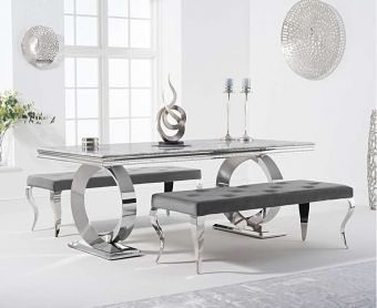 Hyde 200cm Marble Dining Table with Fairmont Velvet Benches